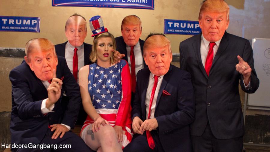 Ella Nova partouzée par des fans de Donald Trump